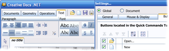 Ribbon, Quick Commands Toolbar and Settings Dialog